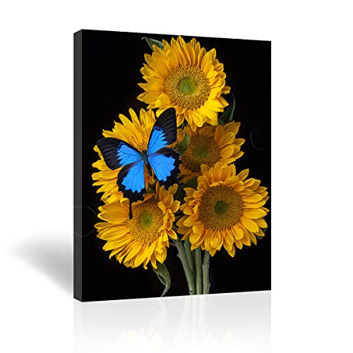 Purple Verbena Art -Yellow Sunflowers with 1 Blue Butterflies