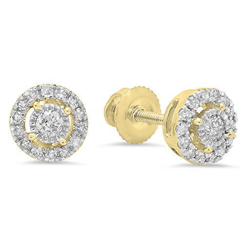 Dazzlingrock Collection 0.20 Carat (ctw) 10K Round White Diamond Ladies Cluster Style Stud Earrings 1/5 CT, Yellow Gold ()