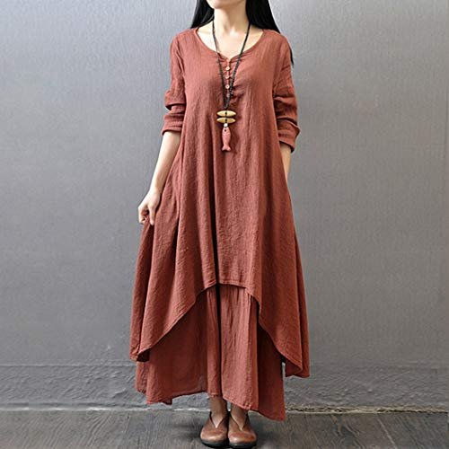 Momorain Casual Women Dress Solid Color Round Collar Long Sleeve Loose Dress Long Length Female Dress Fashion All-match Style