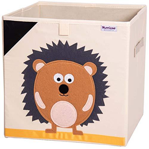 Hurricane Munchkin 13 inch Animal Cube Storage Bin. Soft Fabric Animal Toy Storage Box for Cube Organizers. Woodland Kids Storage Cubes for Baby, Toddlers, Girls, Boys, Nursery & Playroom (Hedgehog)