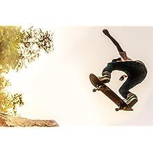 Teenage Boy Performing Stunt on Skateboard Photo Art Print Poster 18x12
