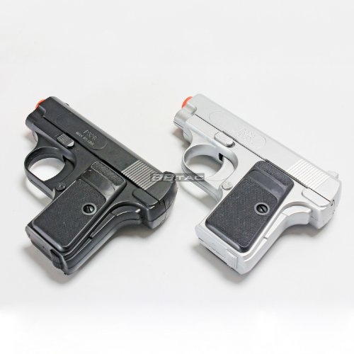 BBTac Airsoft Pistol Twin Pack - 110 FPS Spring Pocket Airsoft Gun with Storage Case, Black/Silver