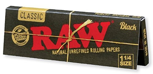 RAW Black Classic Natural Unrefined Rolling Papers - Ultra Thin - 79mm 1 1/4 Size - (6) (Black Clove Cigarettes)