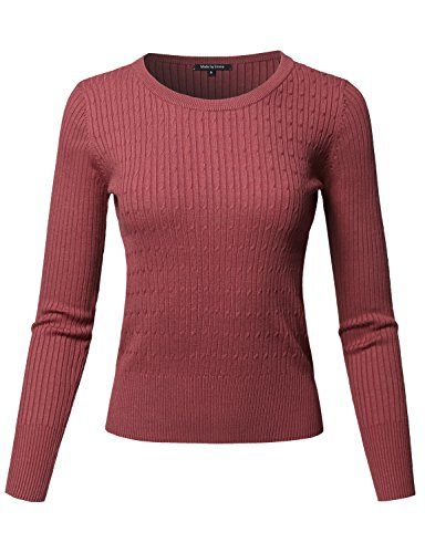 Made by Emma Basic Long Sleeve Crew Neck Cable Knit Classic Sweater Dark Pink S