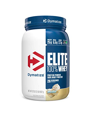 Dymatize Elite 100% Whey Protein Powder, Take Pre Workout or Post Workout, Quick Absorbing & Fast Digesting, Vanilla Cupcake, 2 Pound (Dymatize Elite Gourmet Swiss Chocolate 5 Pound)