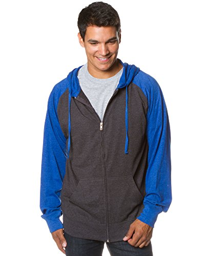 Global Blank Mens Large T Shirts with Pocket Light Hooded Sweatshirt Charcoal Royal