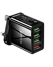 48W 4 Ports Adapter QC 3.0 Quick Charge USB Charger UK Plug Mobile Phone Fast Charger Home Wall Charger Travel Adapter