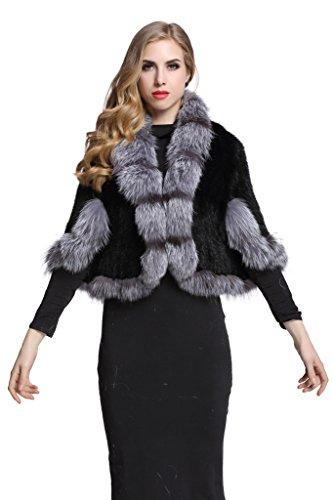 Topfur Women's Real Mink Fur Cape Shawl Coat Stole Real Fur Trim Cappa with Fox Fur Collar(Silver) by TOPFUR