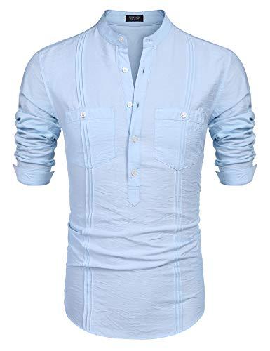 COOFANDY Men's Cotton Linen Henley Shirt Long Sleeve Hippie Casual Beach T Shirts (The Best Cuban Cigars 2019)