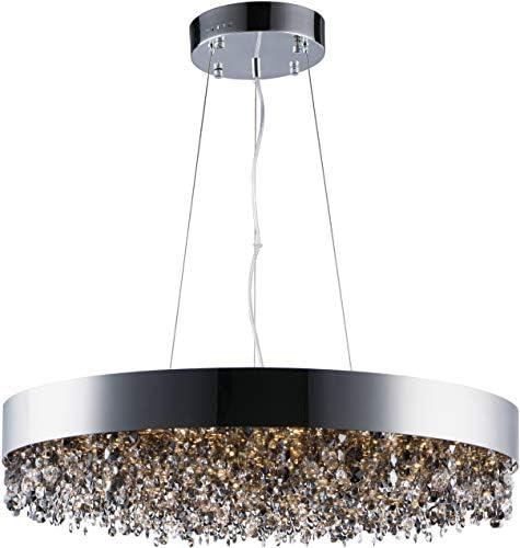Maxim 39657MSKPC Mystic Mirror Smoke Crystal Drum LED Pendant Ceiling Light, 22-Light 61.6 Total Watts, 7 H x 30 W, Polished Chrome