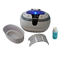 iSonic Wave CD-2800 Ultrasonic Cleaner, 1.3 Pint/0.6 L, 110V, White, including iSonic Jewelry / Eye Wear Cleaning Solution Concentrate, 1OZ sample