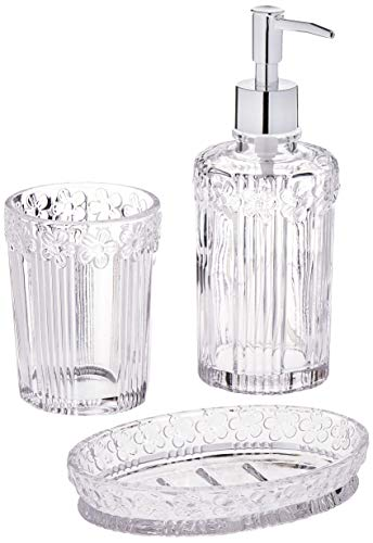 - Circleware 32461 Daisy Bath Collection Home Decor Bathroom Accessories, 3-Piece Set of 12 oz Soap Dispenser, 10 oz Tumbler and Soap Dish, Clear