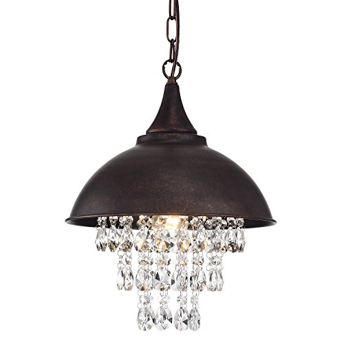 Edvivi 1-Light Antique Copper Dome Pendant Chandelier with Crystals | Modern Farmhouse Lighting -