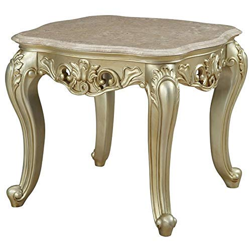 ACME Furniture Gorsedd End Table, Marble and Antique White