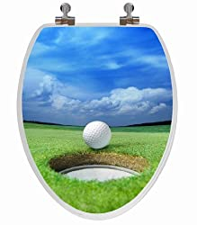 TOPSEAT 6TS3E4151CP 3D Image of Golf Ball on the Green Elongated Wood Toilet Seat