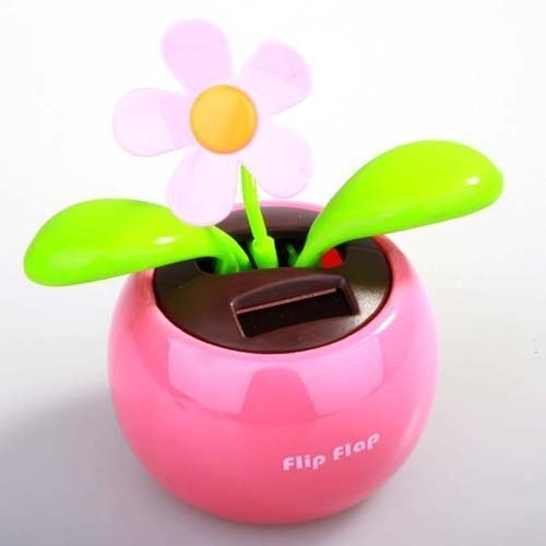 Solar Powered Flip Flap Flower Cool Car Decoration Dancing Toys
