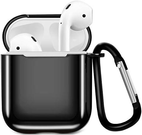 AirPodsケース AirPods第2世代と第1世代に適用 Compatible With Apple AirPods 1・2 アップル エアーポッド 2 ケース 専用 メッキTPU Air Pods AirPodケース 全面保護カバー 耐衝撃で耐久性あり キズ防止 ワイヤレス充電可能 専用保護カバー 軽量小型 エアーポッド2カバー (ブラック)