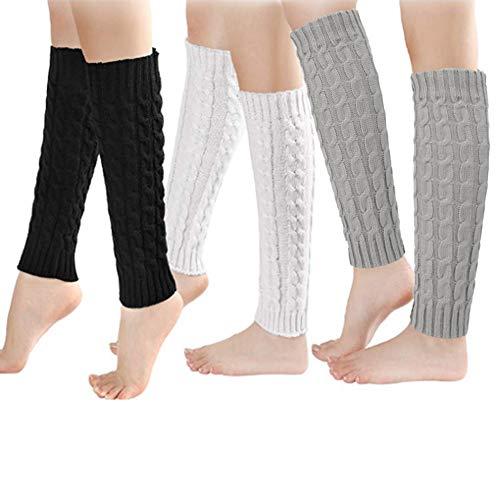 Rubywoo&chili 3 Paare Stulpen Winter Beinwärmer Damen, Wärmer Verdicken Kurze Stricken Gestrickte Legwarmer Boot Abdeckung Socken für Frauen Mädchen