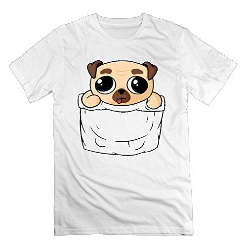 DJIWK Men's Unique Cute Pocket Pug Puppy T Shirt Color White Size 3X