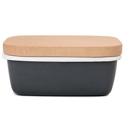 Enameled Treasure Box (GA Homefavor Enamel Butter Dish Butter Box Butter Keeper Container With Wooden Lid, Charcoal Grey)