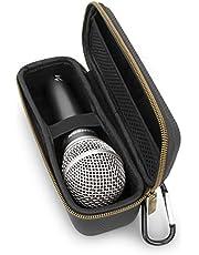 CASEMATIX Funda de micrófono compatible con Shure SM58, SM48 y más modelos de micrófono de hasta 6.75 pulgadas máximo, funda de micrófono ultra compacta para micrófonos de mano dinámicos vocales con cable