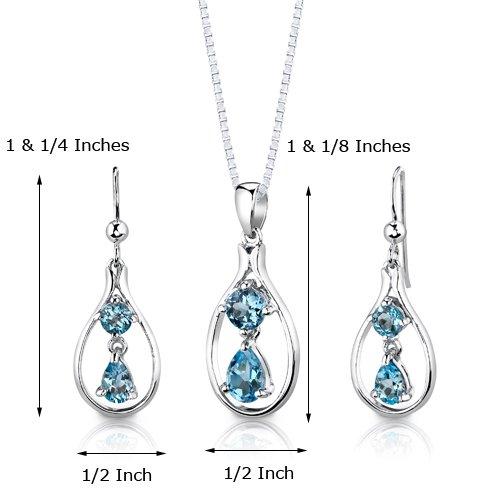 Revoni Ensemble de Lumière - Collier princesse 46 cm et Boucles d'oreilles pendantes sertis avec Topaze bleu Suisse 3,00 cts. - Argent fin 925/1000