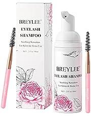 Eyelash Extension Foam, BREYLEE Eyelash Extension Shampoo Eyelash Extension Cleanser Eyelid Cleanser with 1 Brush