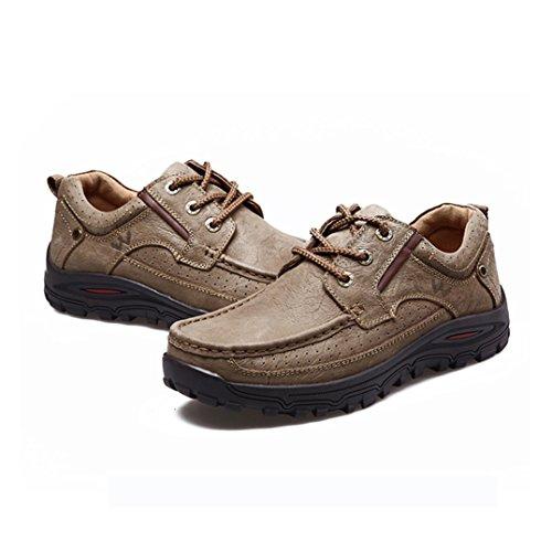 Humgfeng Hommes Lace Up Casual Chaussures En Cuir Pour La Marche, La Randonnée, Le Travail Et Les Activités De Plein Air Bronze