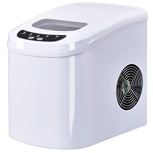Costzon Portable Ice Maker, Compact Countertop Travel Home Ice Machine Makes Up Mini Cube 26lb/Day Ice Storage (White)