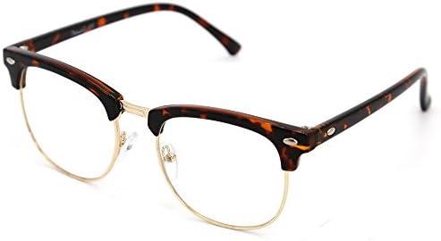 Natwve Co Retro Half Frame Semi Rimless Eyeglasses Vintage Designer Glasses 806 Tortoise Amazon Com Au Fashion