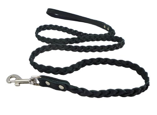 Genuine Fully Braided Leather Dog Leash 4 Ft Long 1/2″ Wide Black, Small Breeds, My Pet Supplies