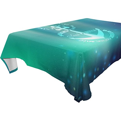 Marine Blue Pool Tablecloth (ZOEO 100% Fabric Polyester Tablecloth,Fresh Blue Marine Sea Anchor,Everyday Table Cover For Restaurant,Kitchen,& Picnic,60x60)