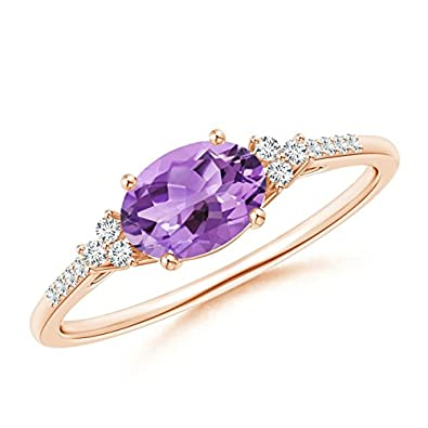 101324a30 Amazon.com: Horizontally Set Oval Amethyst Solitaire Ring with Trio Diamond  Accents (7x5mm Amethyst): Jewelry