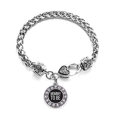 Mommy Charm - Inspired Silver Mommy To Be White Circle Charm Braided Bracelet Silver Plated with Crystal Rhinestones