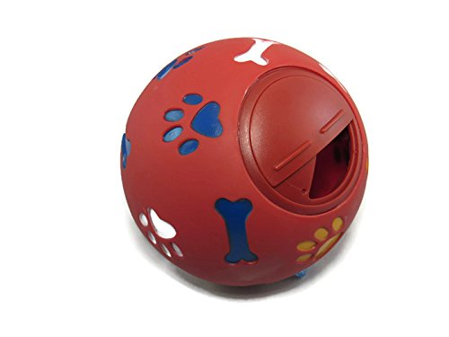 Wheeky Treat Ball for Large Dogs 50 lbs and Up - 14 cm/5.5 inch Diameter - Adjustable Opening Treat Ball (Red)