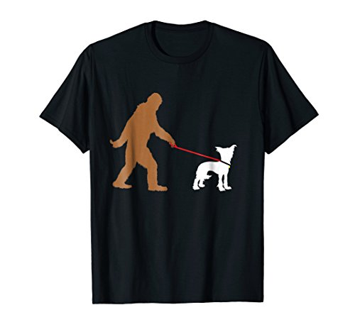 Bigfoot Walking Chinese Crested Dog T-Shirt
