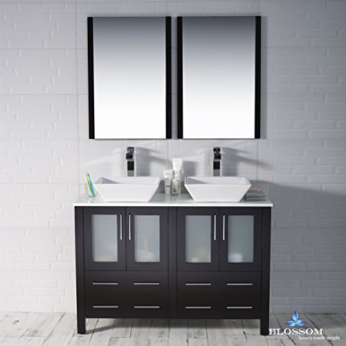 BLOSSOM 001-48-02-D-1616V Sydney 48'' Double Vanity Set with Vessel Sinks and Mirrors Espresso by Blossom