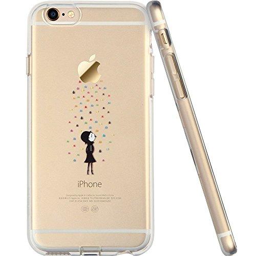 POEGO iPhone 6 / 6S weiche Silikon TPU Schutzhülle Cover Case Etui Transparent Ultra Dünn mit Motiv Männchen