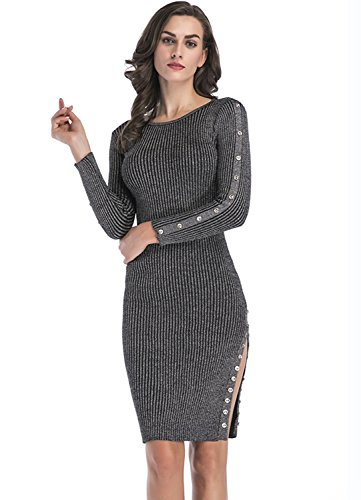 Ribbed Sweater Split Dress For Women - Slim Fit Knit Stretchable Long Sleeve Gray L Midi Party (Split Sweater Ribbed)