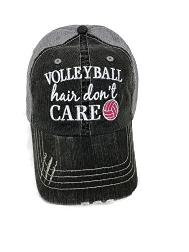 Embroidered Volleyball Hair Don't Care Distressed Look Grey Trucker Cap Hat Sports ()