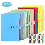 EOOUT 8pcs Expanding File Folders, 5 Pockets A4