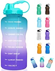 Giotto Large 1 Gallon/128oz (When Full) Motivational Water Bottle with Time Marker & Straw, Leakproof Tritan BPA Free for Fitness, Gym and Outdoor Sports