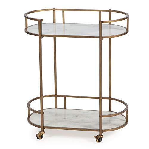 (Modern Glam Gold Metal Marble Serving Cart Buffet Server Mobile Home Bar)