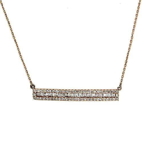 OMEGA JEWELLERY 0.45 Ct Round & Baguette Cut Real Diamond Bar Pendant Necklace In 14K Rose Gold - Omega 14k Necklace