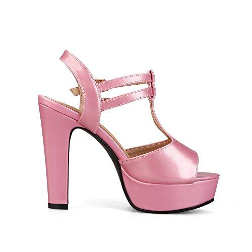 1TO9 Womens Chunky Heels Metal Buckles Platform Urethane Heeled Sandals MJS02557 Red h7veI6U3
