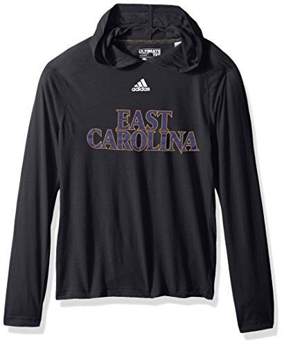 adidas NCAA East Carolina Pirates Adult Men Mark My Words Ultimate L/S Hooded Tee, Large, Black (L/s Hooded Tee)