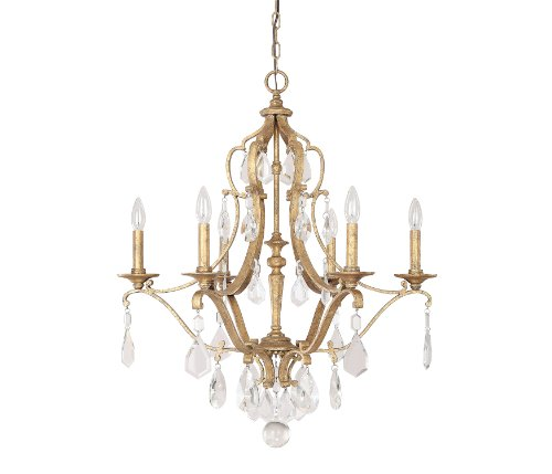Chandelier Light Accents Six (Capital Lighting 4186AG-CR Blakely 6-Light Chandelier, Antique Gold Finish with Clear Crystal Accents)