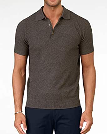 Grand Frank Brown Knitted Polo Shirt