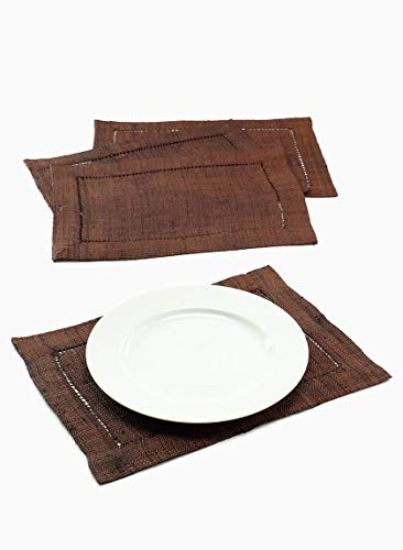 Serene Spaces Living Brown Raffia Hemstitch Placemats, Set of 4, Dining Table -