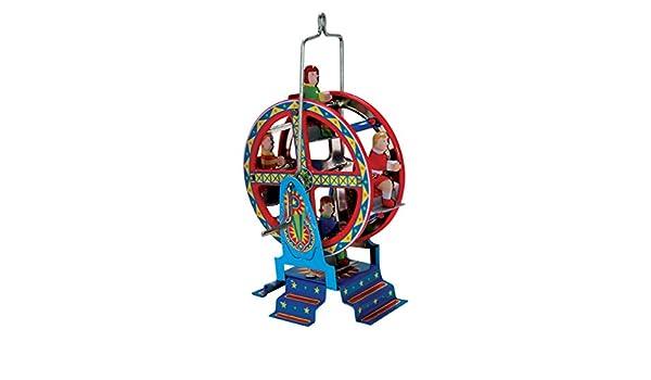 CAPRILO Juguete Decorativo de Hojalata Mini Noria Rueda Carruseles y Circuitos de Cuerda. Juguetes y Juegos de Colección. Regalos Originales.